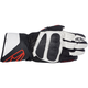 Black/White/Red SP-8 Leather Gloves