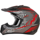 Frost Gray/Red FX-17 Matte Factor Helmet