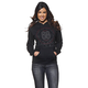 Womens Black Button Pullover Hoody