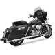 Chrome 4 in. Megaphone Slip-On Mufflers w/Black End Caps - FLH-517T