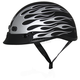 Matte Black/Silver Nano Custom Half Helmet