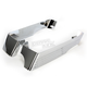 Chrome 3 in. Billet Saddlebag Extentions w/Cutouts for 2 into 1 Right Side Exhaust - 201-14
