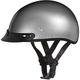 Silver Metallic Skull Cap Half Helmet w/Visor