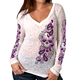 Women's Sugar Paisley Burn-Out V-Neck Long Sleeve Shirt