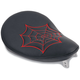 10 in. Wide Black Vinyl Small Spring Solo Seat w/Red Spider Web Stitching - 0806-0017