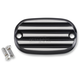 Black Anodized/Silver Finned Rear Brake Master Cylinder Cover - 08-01-2