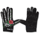 Womens Black/White Rose Bone Gloves