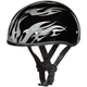 Skull Cap w/Silver Flames Half Helmet