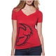 Womens Red Split V-Neck T-Shirt