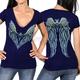Women's Navy Angel Heart 2  Semi-Sheer V-Neck T-Shirt