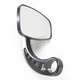Black Cafe Style Bar End Mirror w/Curved Stem - 09-314-CB