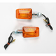 Universal Mini-Stalk Turn Signals - Chrome w/Amber Lens - 25-7502