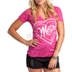 Womens Hot Pink Stamped V-Neck T-Shirt