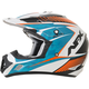 Pearl White/Light Blue/Safety Orange Complex FX-17 Factor Helmet