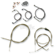 Stainless Braided Handlebar Cable and Brake Line Kit for Use w/Beach Bars/Extra Wide or Extra Wide w/Pullback Handlebars - LA-8005KT-04