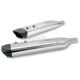 Chrome SPO Oval Slip-On Mufflers w/High Temp Black Xylan End-Cap - 550-0002