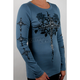 Teal Womens Cross With Wings Long Sleeve T-Shirt