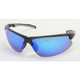 Black Safety C-144 Sunglasses w/Blue RV Lens - C-144BK/BLU