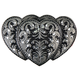 Womens Pewter Triple Heart Belt Buckle - BBA1024