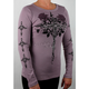 Lavender Womens Cross With Wings Long Sleeve T-Shirt