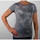 Womens Flur De Lis with Wings T-Shirt - Rhinestone-t-shirt