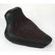 13 in. Wide Tattoo Solo Leather Seat w/Dark Red Stitch - 800-01-0114