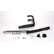 2-into-1 Supersport Round Canister Exhaust System with Glossy Black Header and Polished Aluminum Muffler Sleeve - 12029