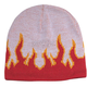 White/Red Flame Beanie - 5026-WHITE/RED