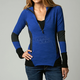 Womens Blue Steel Divide Long Sleeve Pullover Shirt