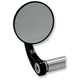 Black Round Bar End Mirror w/ Curved Stem - 09-313-CB