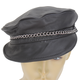 Black Leather Riding Cap - 129