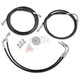 Black Vinyl-Coated Stainless Steel Brake Line Kit For Use With Mini Ape Hangers w/ABS - LA-8050B08B