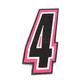 Pink/Black 5 in. Number 4 Patch For Gear Bags - 3550-0251