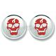 Skull in Chrome Front/Rear Turn Signal Lens-Red - 60RSKULL