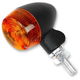Black Satin Aluminum Round #1 Single Filament LED Marker Lights w/Amber Lens - 26-8320BK