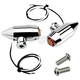 Chrome Vega LED Side Rail Turn Signals w/ Amber Lens - 05-57-AC