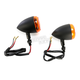 Black Incandescent DOT Approved/E-Marked Aluminum Body Turn Signals w/Amber Lens - 25-5302