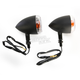 Black Incandescent DOT Approved/E-Marked Aluminum Body Turn Signals w/Clear Lens - 25-5303