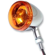 Chrome Incandescent DOT Approved/E-Marked Aluminum Body Turn Signals w/Amber Lens - 25-5312