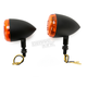 Black DOT Approved/E-Marked Aluminum Body Turn Signals w/Amber Lens - 26-5301