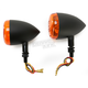 Black DOT Approved/E-Marked Aluminum Body Turn Signals w/Amber Lens - 26-5302