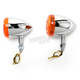 Chrome DOT Approved/E-Marked Aluminum Body Turn Signals w/Amber Lens - 26-5311
