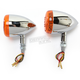Chrome DOT Approved/E-Marked Aluminum Body Turn Signals w/Amber Lens - 26-5312