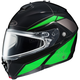 Black/Green/Silver IS-MAX 2 MC-4 Elemental Snowmobile Helmet w/ Dual Lens Shield
