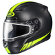 Matte Black/Hi-Viz Neon Green CL-17SN Streamline MC-3HF Snowmobile Helmet w/Dual Lens Shield