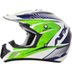 Pearl White/Green/Blue FX-17 Youth Complex Factor Helmet