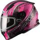 Flat Black/Pink FF49 Elegance Snowmobile Helmet w/Dual Lens Shield