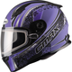 Flat Black/Purple FF49 Elegance Snowmobile Helmet w/Dual Lens Shield