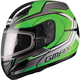 Green/Silver/Black GM44S Glacier Modular Snowmobile Helmet