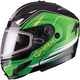 Black/Green GM54S Terrain Modular Snowmobile Helmet